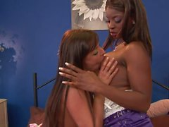 Jasmine Webb and Karen Wood fuck with a toy in bed