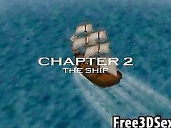 Sexy dos desenhos animados 3D ébano mel fodido em um navio pirata