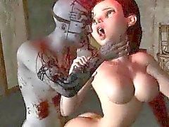 Rävaktigt 3D film tjej bli knullade hårt av a zombien