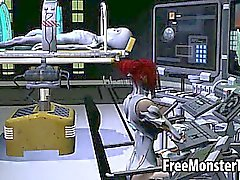 Leckere 3D Redheadfrau Babe bekommt von einem Alien gefickt