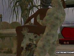 3D Ebony baben Dubbelsäng Teamed genom Zombies