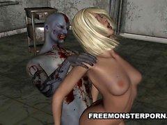 Sexy 3D tecknad film bonde brud körd av a zombie