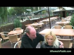 Blonde big tits whore fucked in public taking cumshot