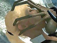 3D de dibujos animados Bañera bebé rubio follada por un extranjero