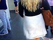 See thru Thick ass white dress black thong