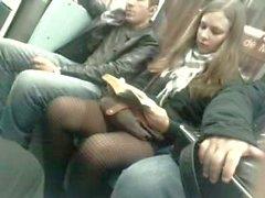 candid black pantyhose in metro