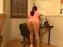 Busty Sophie Dee in pink nurse uniform