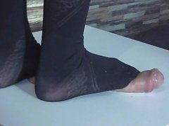 cruel full weight trampling on cock and balls in black pantyhose