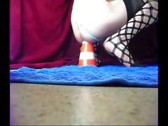 Amazing anal skills of Bunny Dilatare with a huge cone