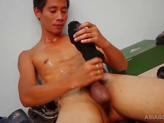 Homo asiat Twink Big slår Av