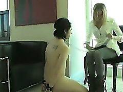 Blonde Femdom Mistress Strapon Sucking Slave