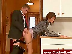 Secretary gets nailed in office kitchen