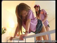 Futanari Waitress Cums on Teen!