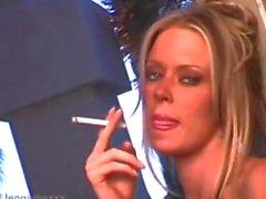 Jenna Jameson smoking on set