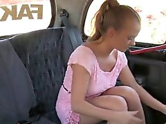 Brunette amateur fucking in fake taxi in public