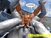 геев конкуренции задницу странных партии 3D мультфильм комические