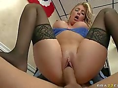 Busty special agent Samantha Saint in black stockings rides a dick