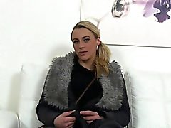 Blonde shaved cunt banged in casting