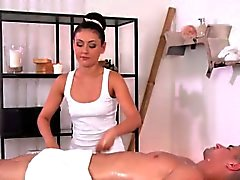 Hot masseuse giving handjob and fucking customer