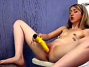 Luscious teen is peeing and fingering trimmed vagina