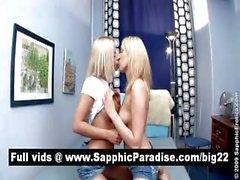 Восхитительные блондин Остров Лесбос поцелуи и раздевание и имеющих лесбо секса