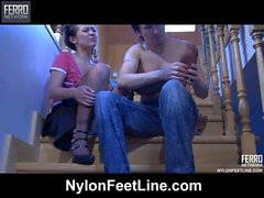 Mima&Rolf nylon footfuck movie