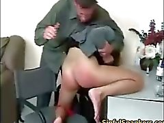 Amazing brunette babe gets spanked part6
