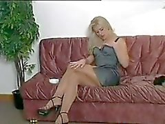 Smoking Blonde Beauty Wearing Pantyhose