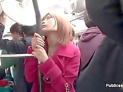 Sweet Asian brunette rides the bus with perverts