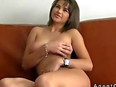 Sexy busty brunette fucking on a couch