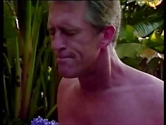 Brunette lifeguard licks blond babe's pussy from behind then fucks in 3some