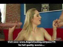 Reizvolle Hobby blonden das flotten Dreier und Empfangen abspritzen Gesicht