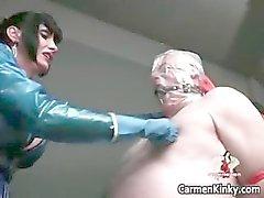 Twee hete geile sexy lichaam latex MILF babes