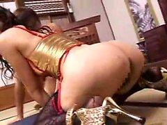 Asian beauty in stockings and stilettos deepthroats a hard