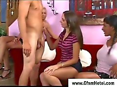 Cfnm femdom bitches take a dudes dick in their hands
