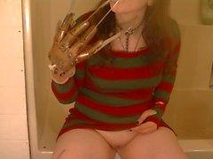 Hot Female Freddy Krueger Tease, Fingering, Licking