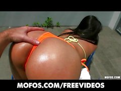 Sun tanning Latina GF gets a massage and a big dick