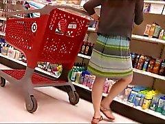 Cute brunette upskirt at Target