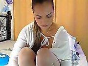 Ослепительно любительские девочка в белых чулках будет мигать она Amazin