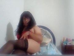 Transvestite Michelle in red lingerie