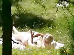 Hot teen caught masturbating outdoor by a peeper