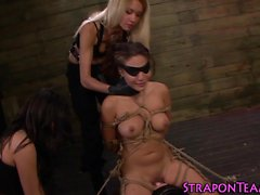 Shibari lez slave flogged