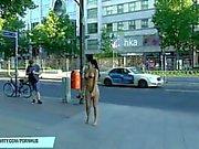Naughty babe nicole vice naked on public streets