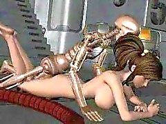 Girl körd av Robotic Skeleton