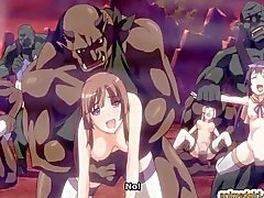 Anime cutie brutalt monsters körd och creampie