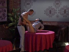 Exotic Kaylani Lei gets screwed on a table