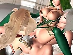Anime threesome with busty chicks giving titjob