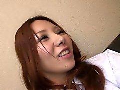 Aasialainen redhead nartun hankaudu kuuma märkä vittu
