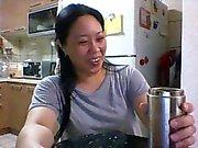 Skypen Slut Miss Z Playing Keittiön - Kopiointi