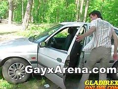 Sexy Gey Açık Havuz Ağız Ve Car Wanking